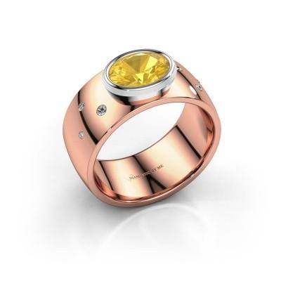 Ring Wilma 2 585 rosé goud gele saffier 8x6 mm