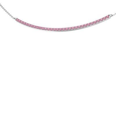 Foto van Bar ketting Simona 925 zilver roze saffier 1.5 mm
