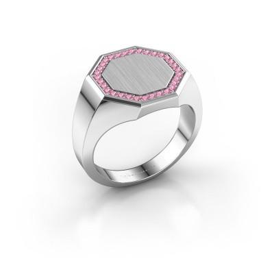 Heren ring Floris Octa 3 925 zilver roze saffier 1.2 mm