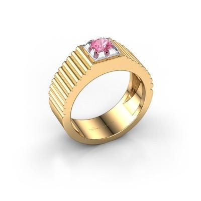 Pink ring Elias 585 goud roze saffier 5 mm