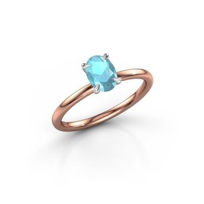 Foto van Verlovingsring Crystal OVL 1 585 rosé goud blauw topaas 7x5 mm