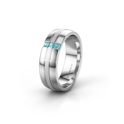 Trouwring WH0426L26A 585 witgoud blauw topaas ±6x1.7 mm