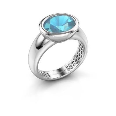 Ring Evelyne 925 Silber Blau Topas 10x8 mm
