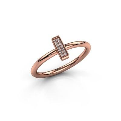 Ring Shape stripe small 375 rosé goud diamant 0.035 crt