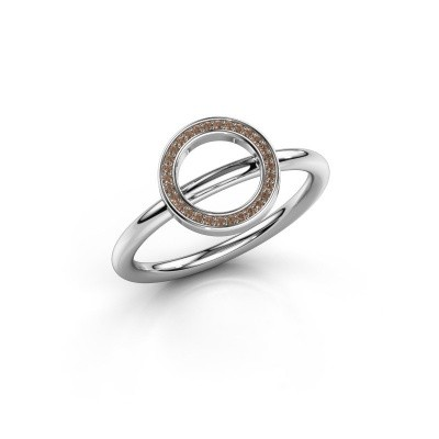 Ring Shape round large 950 platina bruine diamant 0.075 crt