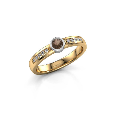 Engagement ring Ise 2 585 gold smokey quartz 3.7 mm