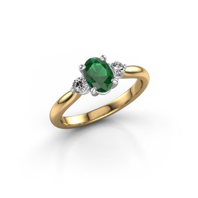 Picture of Engagement ring Lieselot OVL 585 gold emerald 6.5x4.5 mm