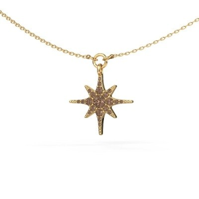 Halsketting Star 375 goud bruine diamant 0.29 crt