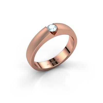 Verlovingsring Theresia 375 rosé goud aquamarijn 3.4 mm