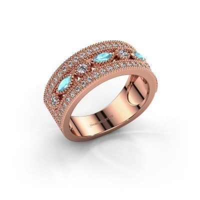 Ring Henna 375 rosé goud blauw topaas 4x2 mm