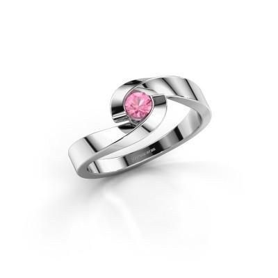 Foto van Verlovingsring Sheryl 925 zilver roze saffier 3.7 mm