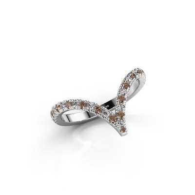 Ring Mirtha 585 witgoud bruine diamant 0.41 crt