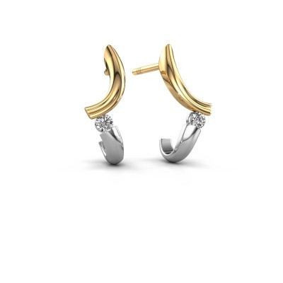 Photo de Boucles d'oreilles Tish 585 or jaune diamant 0.12 crt