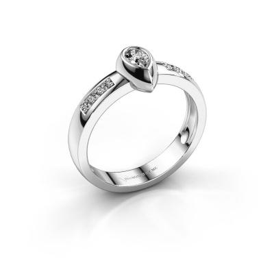 Ring Charlotte Pear 925 silver diamond 0.25 crt