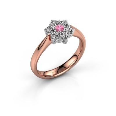 Promise ring Chantal 1 585 rosé goud roze saffier 2.7 mm