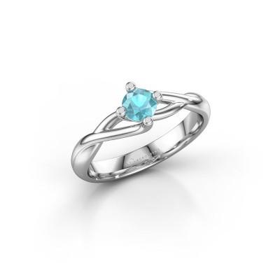 Foto van Ring Paulien 585 witgoud blauw topaas 4.2 mm