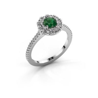 Verlovingsring Misti 2 950 platina smaragd 5 mm
