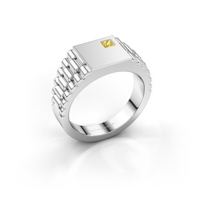 Picture of Men's ring Pelle 950 platinum yellow sapphire 3 mm