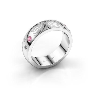 Foto van Ring Minke 950 platina roze saffier 2 mm