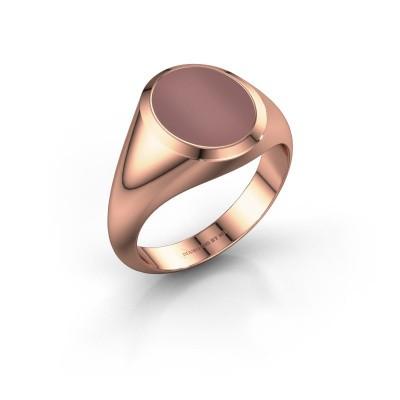 Signet ring Evon 2 375 rose gold carnelian 12x10 mm