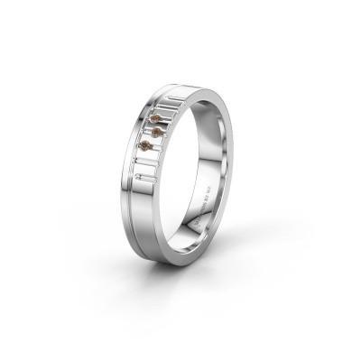Vriendschapsring WH0332L14X 925 zilver bruine diamant ±4x1.5 mm