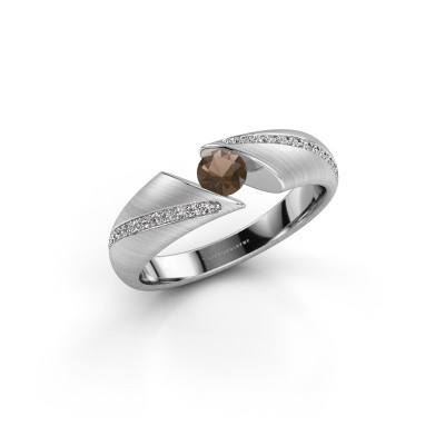 Foto van Ring Hojalien 2 925 zilver rookkwarts 4 mm