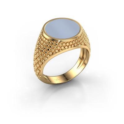 Zegelring Zachary 2 585 goud licht blauwe lagensteen 12 mm