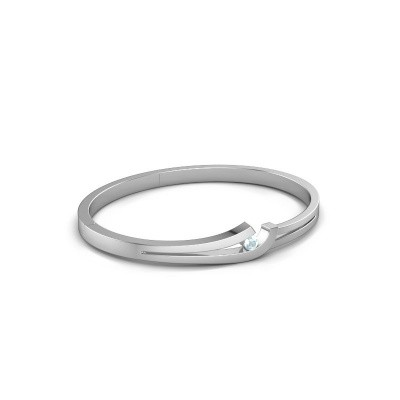 Picture of Bangle Yentl 950 platinum aquamarine 3.7 mm