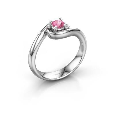 Ring Linn 585 witgoud roze saffier 4 mm