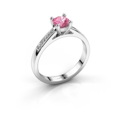 Engagement ring Nynke 950 platinum pink sapphire 4.7 mm