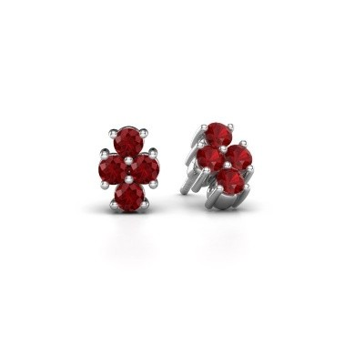 Picture of Stud earrings Richelle 585 white gold ruby 3 mm