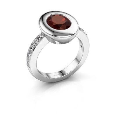 Ring Selene 2 585 white gold garnet 9x7 mm
