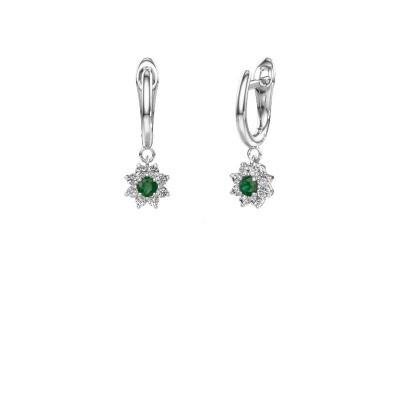 Oorhangers Camille 1 950 platina smaragd 3 mm