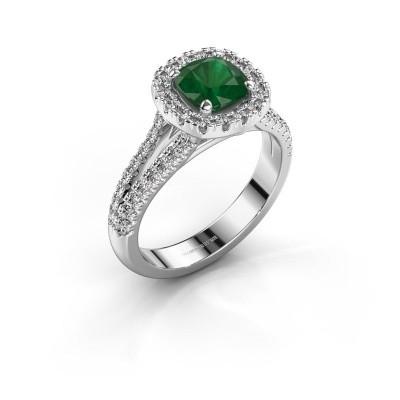 Verlovingsring Francesca 950 platina smaragd 6 mm