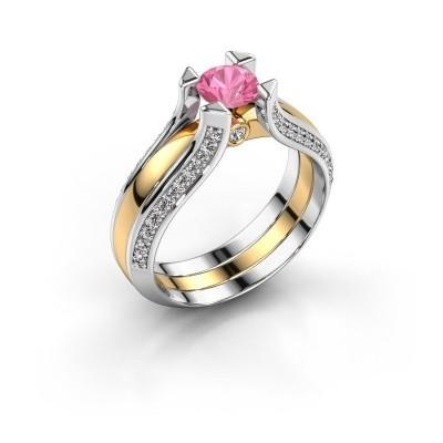 Verlovingsring Nadine 585 goud roze saffier 5 mm