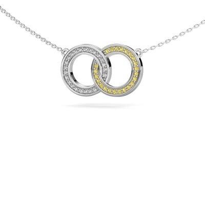 Foto van Ketting Circles 1 925 zilver gele saffier 1 mm