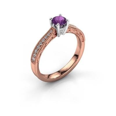 Foto van Belofte ring Shonta RND 585 rosé goud amethist 4.7 mm