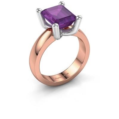 Ring Clelia EME 585 rosé goud amethist 10x8 mm