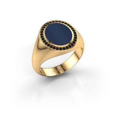Foto van Zegelring Adam 2 375 goud donker blauw lagensteen 12x10 mm