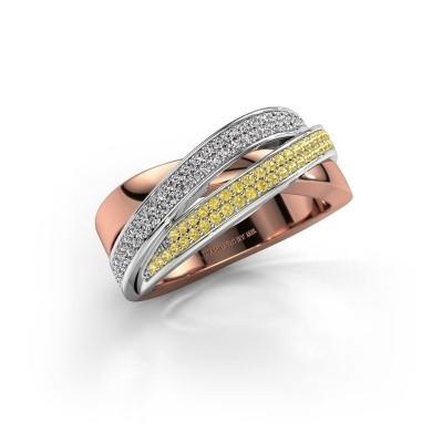 Foto van Ring Myra 585 rosé goud gele saffier 1 mm
