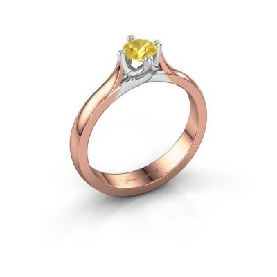 Foto van Verlovingsring Eva 375 rosé goud gele saffier 4.2 mm