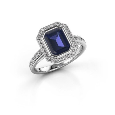 Picture of Engagement ring Noud 2 EME 585 white gold sapphire 8x6 mm