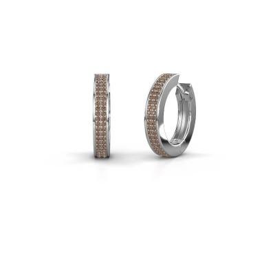 Creolen Renee 5 12 mm 925 zilver bruine diamant 0.78 crt