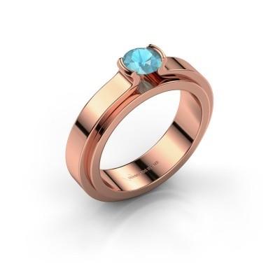 Foto van Verlovingsring Jacinda 585 rosé goud blauw topaas 4.7 mm