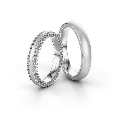 Foto van Trouwringen set WH2139LM24B ±4x2 mm 14 karaat witgoud diamant 1.26 crt