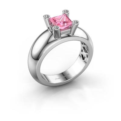 Ring Cornelia Square 585 white gold pink sapphire 5 mm