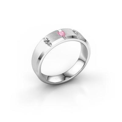 Bild von Männerring Justin 585 Weißgold Pink Saphir 2.5 mm