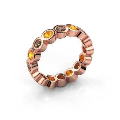 Stackable ring Edwina 3 375 rose gold brown diamond 0.80 crt