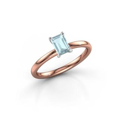 Foto van Verlovingsring Crystal EME 1 585 rosé goud aquamarijn 6x4 mm