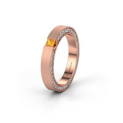 Wedding ring WH2140L14B 375 rose gold citrin ±3,5x2 mm
